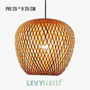 Đèn mây tre trang trí homestay phi 25x25 – DMT263 – Bamboo Lighting