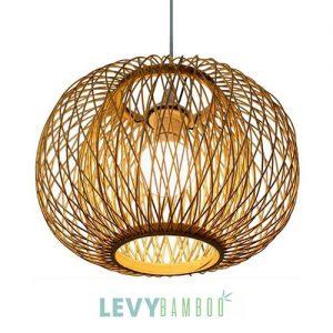 Đèn nan tre hình quả bí ngô 2 lớp – DMT250 – Bamboo Lighting