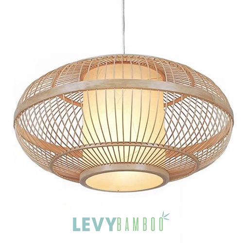 Đèn tăm tre có lồng vải trang trí – DMT215 – Bamboo Lighting