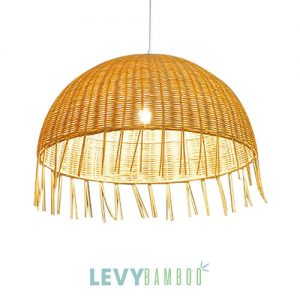 Đèn tăm tre hình lồng bàn tua rua – DMT011 – Bamboo & Rattan Lighting