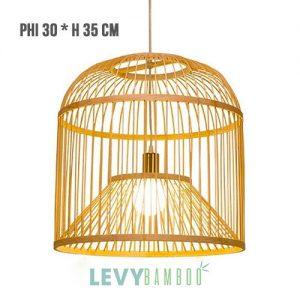 Đèn tăm tre hình lồng chim cách điệu – DMT258 – Bamboo Lighting