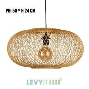 Đèn tăm tre hình trái bí dẹp – DMT238 – Bamboo Lighting