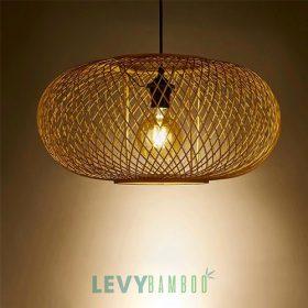 Đèn tăm tre hình trái bí dẹp – DMT238 – Bamboo Lighting1