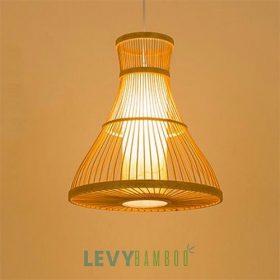 Đèn tăm tre uống cong có lồng vải đẹp – DMT222 – Bamboo Lighting
