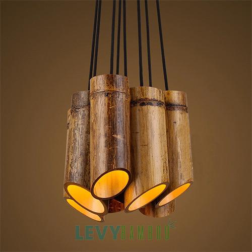 Đèn ống tre cắt vát trang trí chùm cực đẹp - DMT307 - Bamboo Lighting