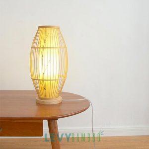 Đèn bàn lồng vải bằng trăm tre đan cao hình thoi – DMT284 – Bamboo Lighting