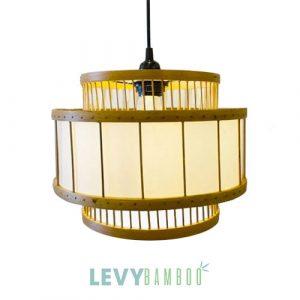 Kiểu đèn tăm tre trụ lồng vải trang trí nhà hàng - DMT295 - Bamboo Lighting