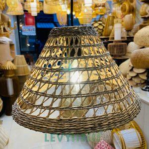 Mẫu đèn lục bình trang trí hình chóp cụt - DMT327 - Lê Vy Bamboo