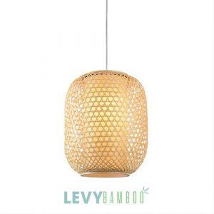 Đèn nan tre đan lồng vải kiểu đan mắt cáo - DMT315 - Bamboo Lighting