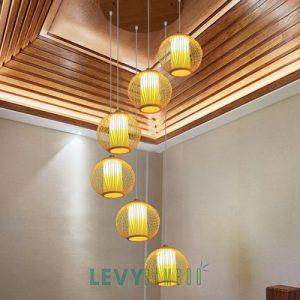 Các mẫu đèn mây tre thả chùm - Bamboo Lighting
