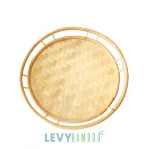 Khay tre đan hình tròn có vành đựng rau củ quả