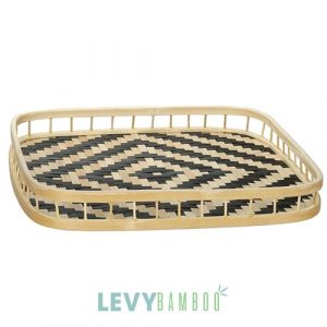 Khay tre đan nan kiểu đen & vàng hình vuông vành trúc